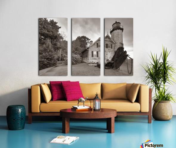 White River Light ap 2449 B&W Split Canvas print