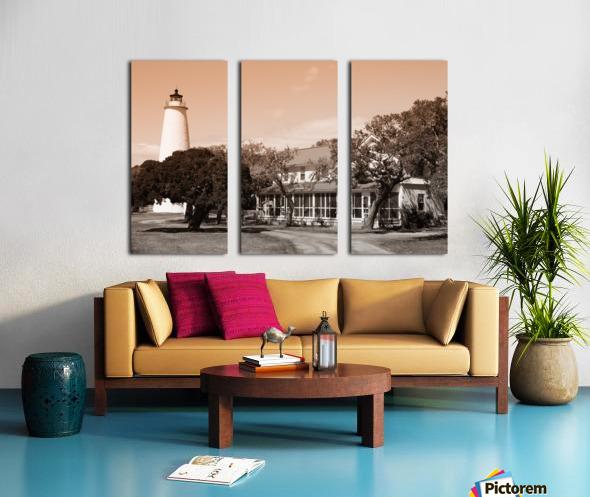 Ocracoke Light ap 1743 B&W Split Canvas print