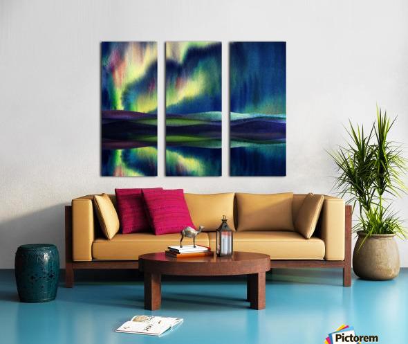 Aurora Borealis Magic Reflections Northern Lake Lights Watercolor Split Canvas print