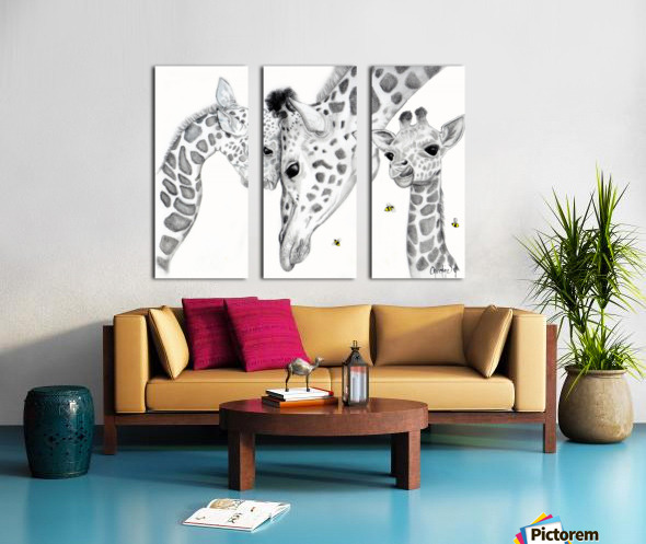 Giraffe Family  Split Canvas print