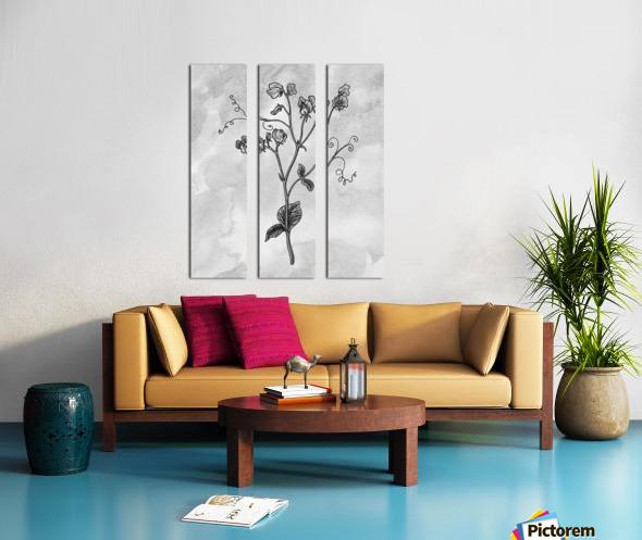 Sweet Pea Simple Gray Botanical Flower On Watercolor Marble  Split Canvas print