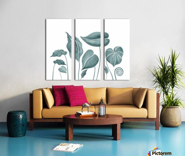 Tropical Leaves Teal Gray Botanical Foliage Watercolor  Split Canvas print