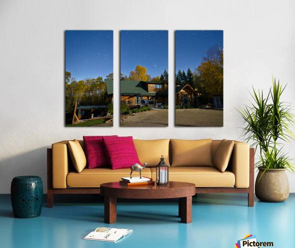 Nightscape Over Log Cabin Split Canvas print