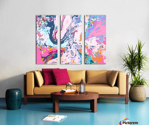 Baby Blue and Pink Paint Pour Split Canvas print