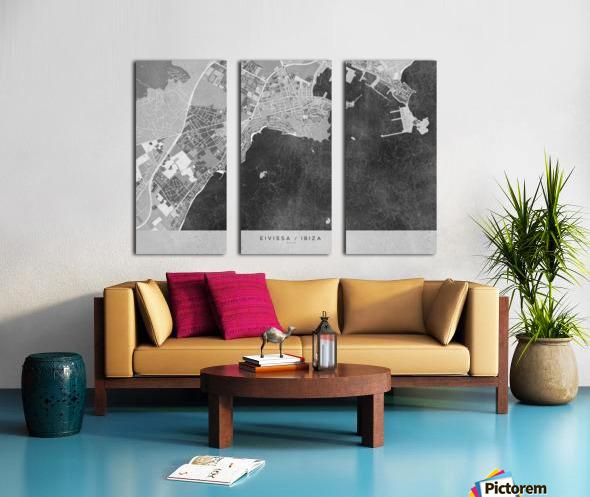 Gray vintage map of Ibiza Spain Split Canvas print