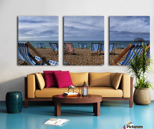 Deckchairs In Brighton Split Canvas print