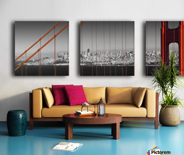 Golden Gate Bridge Panoramic Downtown View Split Canvas print