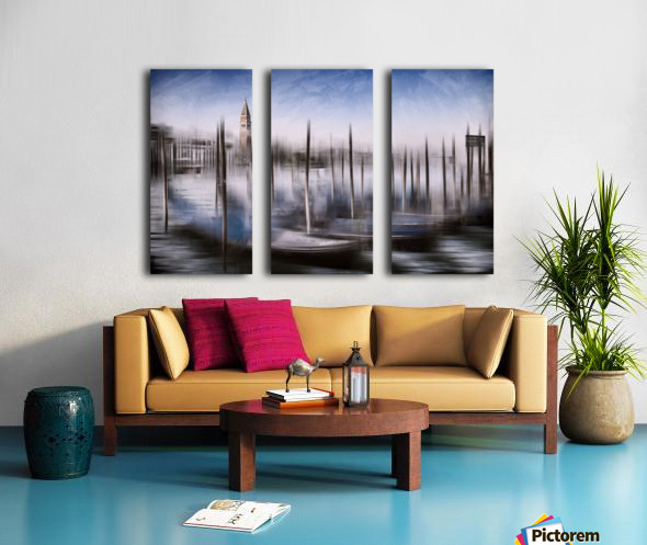 Digital-Art VENICE Grand Canal and St Mark's Campanile Split Canvas print