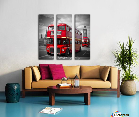 LONDON Red Buses on Westminster Bridge Split Canvas print