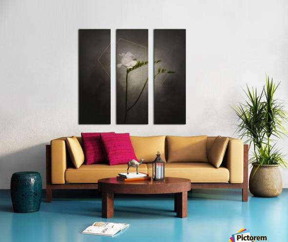 Graceful flower - Freesia   vintage style gold  Split Canvas print