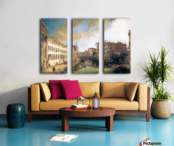 The River of Mendicanti by Canaletto Split Canvas print