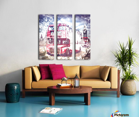 City-Art LONDON Red Buses on Westminster Bridge Split Canvas print