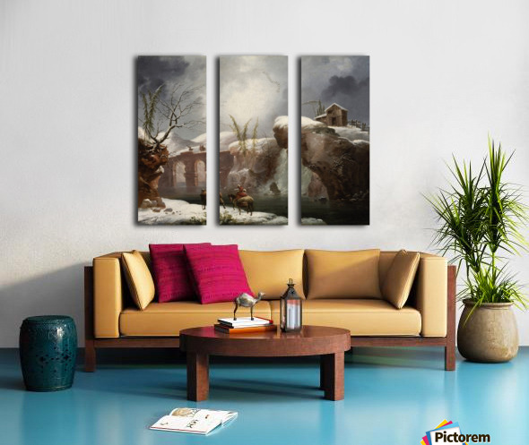 A winter landscape with travellers by a river Split Canvas print