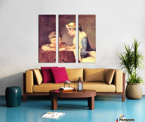 The young teacher by Jean Chardin Split Canvas print