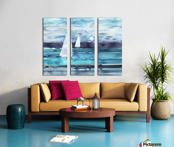 Beach House Art Sailboats At The Ocean Shore Seascape Painting XII Split Canvas print