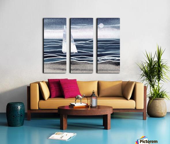 Beach House Art Sailboat At The Ocean Shore Seascape Painting XIII Split Canvas print