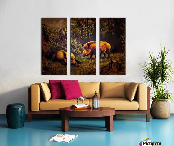 Wild Boars Split Canvas print