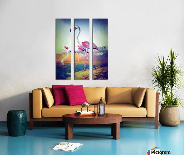 Regiment of Flamingoes Split Canvas print