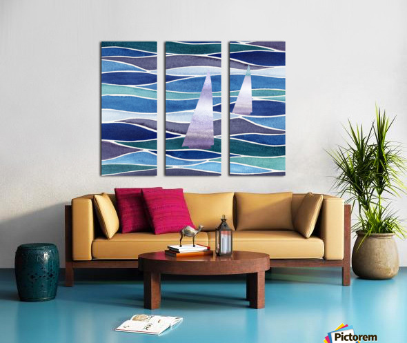Sailboats At The Ocean Shore Seascape Painting Beach House Art Decor XIV Split Canvas print