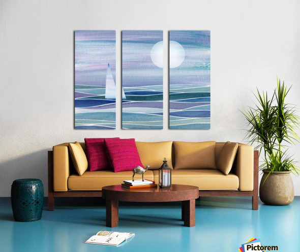 Sailboat At The Ocean Shore Seascape Painting Beach House Art Decor XV Split Canvas print