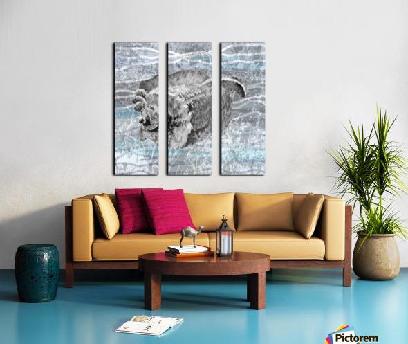 Silver Gray Seashell On Ocean Shore Waves And Rocks I Split Canvas print