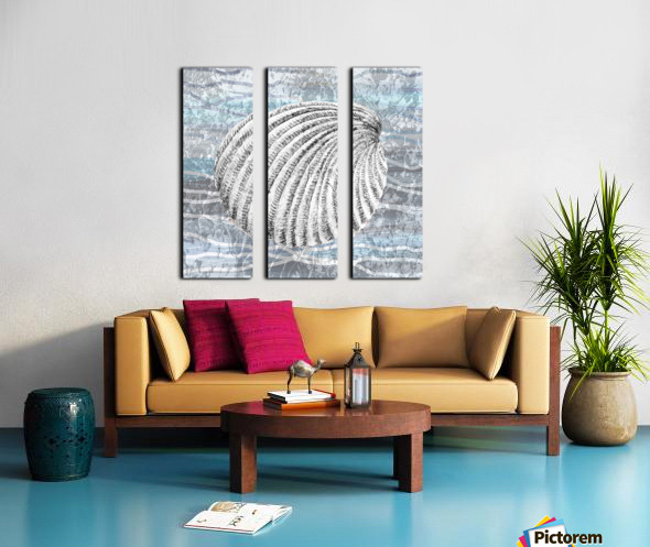 Silver Gray Seashell On Ocean Shore Waves And Rocks II Split Canvas print