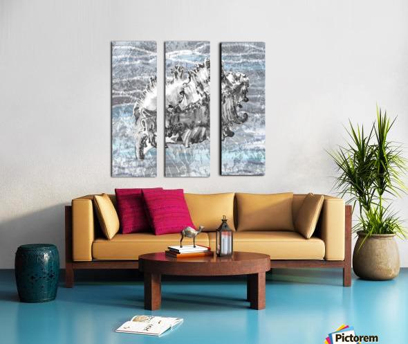 Silver Gray Seashell On Ocean Shore Waves And Rocks III Split Canvas print