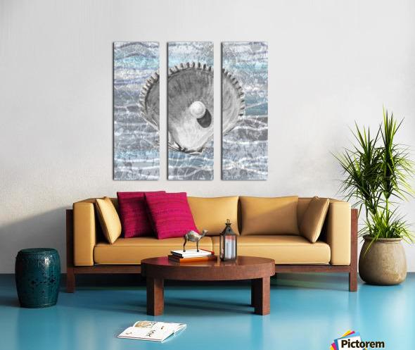 Silver Gray Seashell On Ocean Shore Waves And Rocks IV Split Canvas print