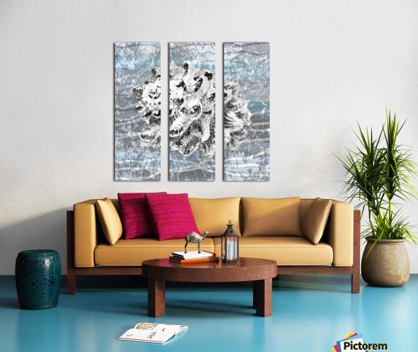 Silver Gray Seashell On Ocean Shore Waves And Rocks VI Split Canvas print