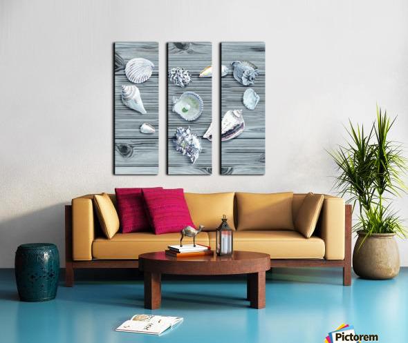 Silver Gray Seashells Heart On Ocean Shore Wooden Deck Beach House Art  Split Canvas print