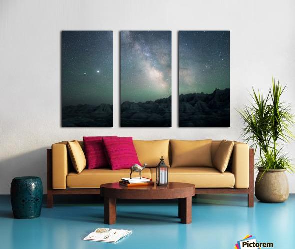 Milky Way Above The Badlands Split Canvas print
