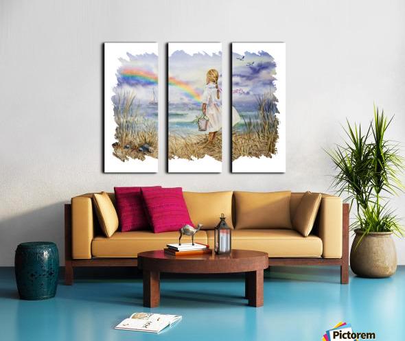 Girl Ocean Rainbow Boat And Birds Beach House Style Art Split Canvas print