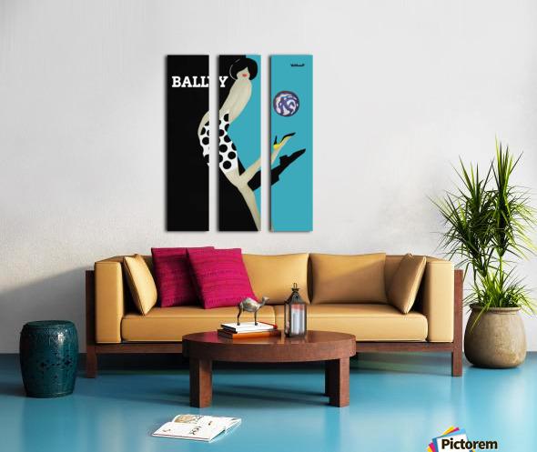 Vintage Bally Poster Giclee Print Aqua Blue Split Canvas print