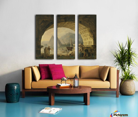 View of antiquities under an arch Split Canvas print