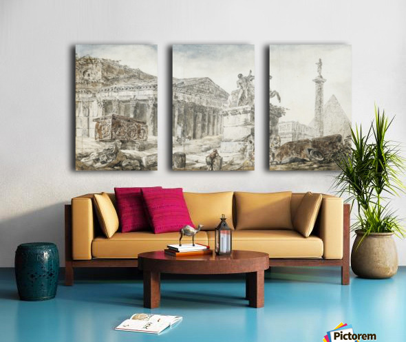 An architectural capriccio with figures among Roman ruins Split Canvas print