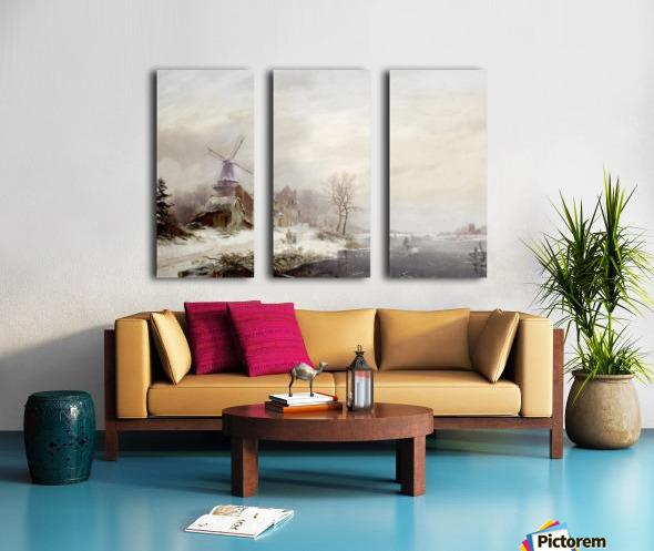 Winter landschap met gehucht, windmolen en figuren Split Canvas print