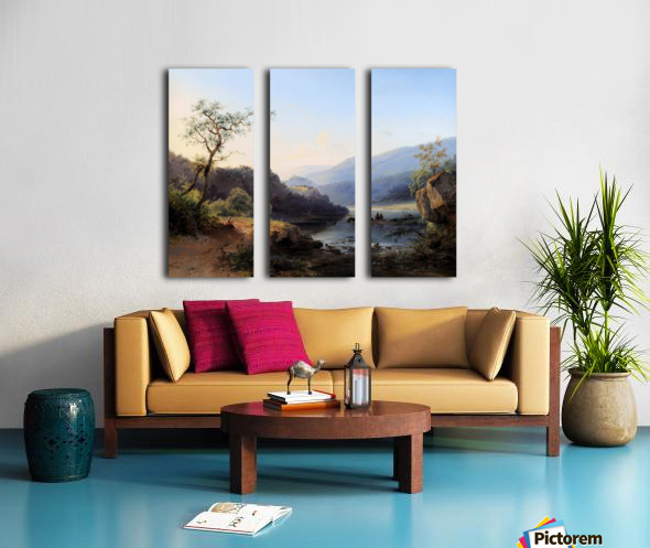 Landscape with lake and figures Split Canvas print