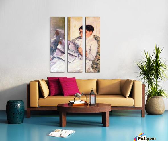 When reading of Figaro by Cassatt Split Canvas print