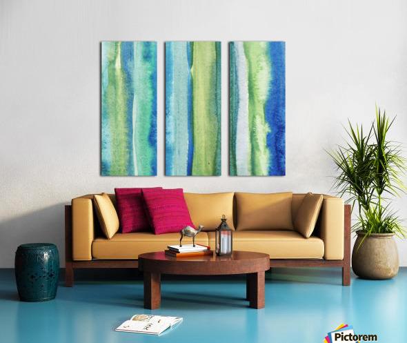 Ocean And Sea Beach Coastal Art Organic Watercolor Abstract Lines I Split Canvas print