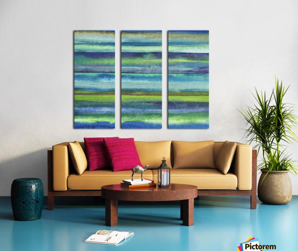 Ocean And Sea Beach Coastal Art Organic Watercolor Abstract Lines VI Split Canvas print