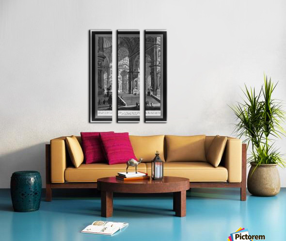 Large Sculpture Gallery Built On Arches by Giovanni Battista Piranesi Classical Fine Art Xzendor7 Old Masters Reproductions Split Canvas print