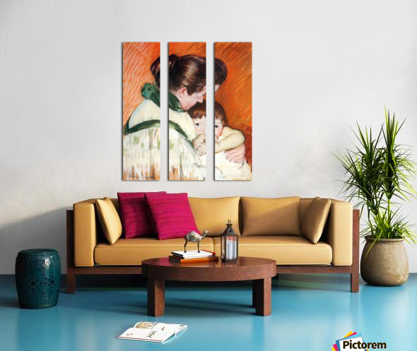 Woman and Child by Cassatt Split Canvas print