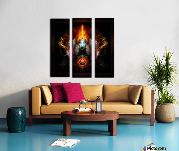 Riddian Queen Dynasty Of Power On Black Fractal Art Fantasy Portrait Split Canvas print