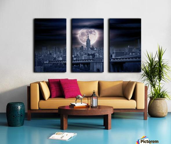 Between The Moon & NYC Split Canvas print