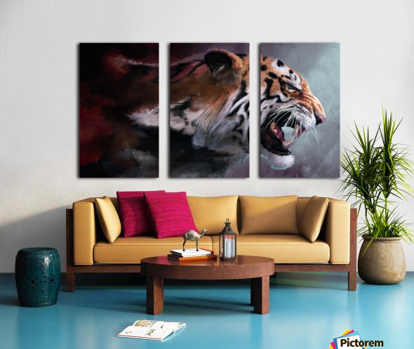 Lunging Tiger Split Canvas print