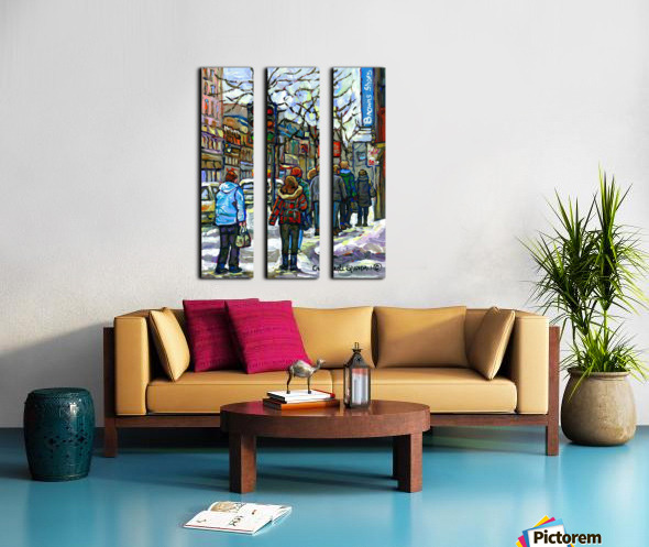DOWNTOWN MONTREAL WINTER SCENE SHOPPERS ON ST. CATHERINE STREET Split Canvas print