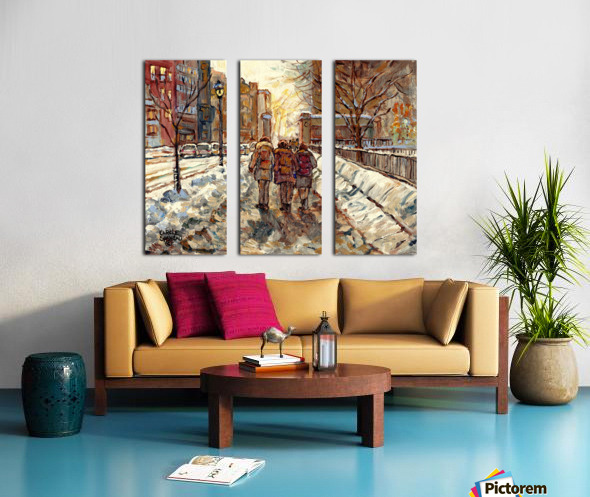 MONTREAL WINTER SCENE MCGILL WINTER WALK NEAR RODDICK GATES Split Canvas print