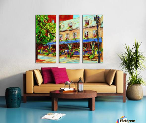 LE JARDIN NELSON OLD MONTREAL RESTAURANT SUMMER STREET SCENE Split Canvas print