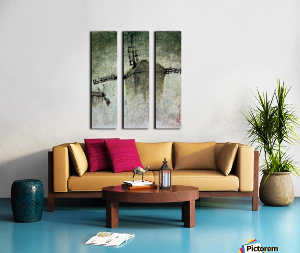 Windmills in the fog Split Canvas print