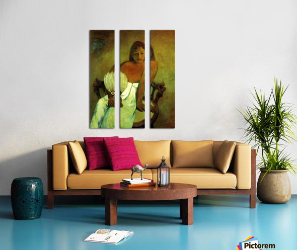 Young Girl with Fan by Gauguin Split Canvas print